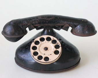 Vintage Toy Phone, Black and White Tin Toy Rotary Telephone