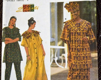 Vintage Sewing Pattern Simplicity 7052 Misses' African Style Dress, Pants, Top Bust 30-38 inches  Uncut Complete