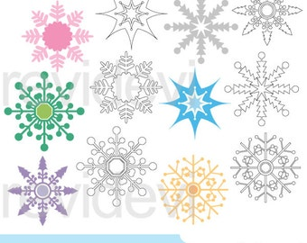 Snowflakes clipart - pastel snowflakes clip art and digital stamps - commercial use, digital download snow flakes