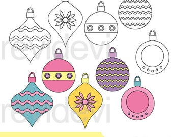 Pastel Xmas Ornaments clipart and digital stamps - christmas ornament clip art, digital download, commercial use
