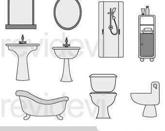 Bathroom clipart - shower, sink, toilet sit clipart digital - commercial use clip art