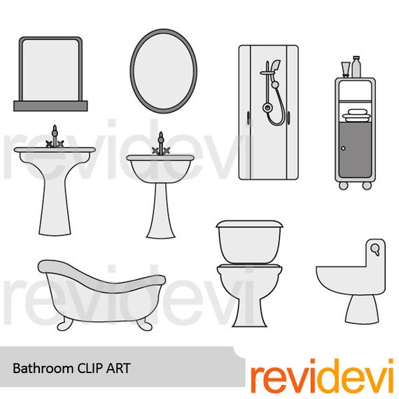 Bathroom Clipart Shower Sink Toilet Sit Clipart By Revidevi