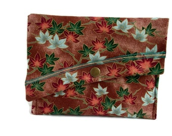 Fall Clutch Purse , Clutch Bag Autumn , Women's Handbag , Brown Blue Green Rust , Leaf Purse , Oriental  Purse