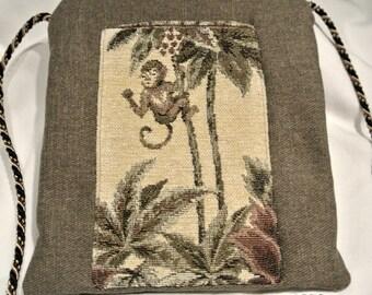 Monkey Crossbody Purse , Sling Cross Body Shoulder Bag , Jungle Handbag , Pocketbook , Small Travel Purse , Gift for Her Under 50