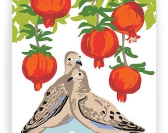 Season's Greetings Pomegranate and Doves - Box of 8 cards