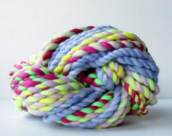 handspun yarn, wool, hand spun yarn, rainbow yarn, 2ply candy cane yarn, bulky wool yarn, hand dyed yarn .. candy cane 4
