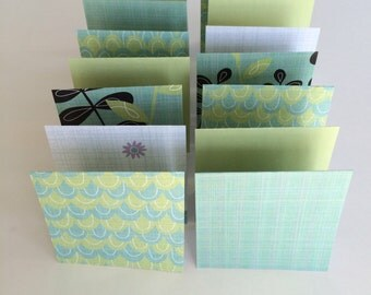 Mini Cards 14 Green Mix - blank for thank you notes 3 x 3