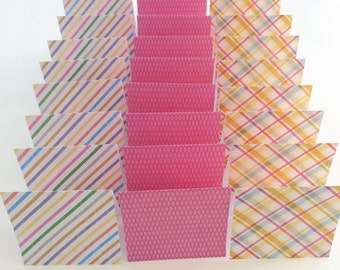 Mini Cards 24 pink mix - blank for thank you notes 3 x 3