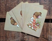 Vintage Cute Girl with White Kitten Playing Cards - Set of 6