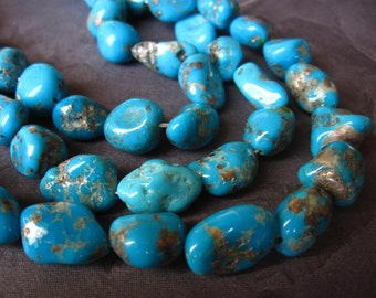 Blue Campitos Mexican Turquoise semiprecious gemstone beads - 7 1/2 inch strand - 12mm X 10mm