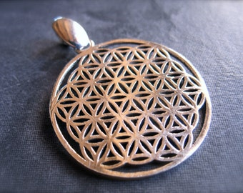 Flower of Life Solid Sterling Silver pendant - 29mm - with finished bail - 4mm hole