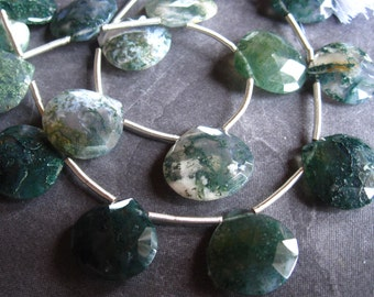 2 Moss Agate top drilled faceted briolettes - large - for earrings - 15mm X 16mm