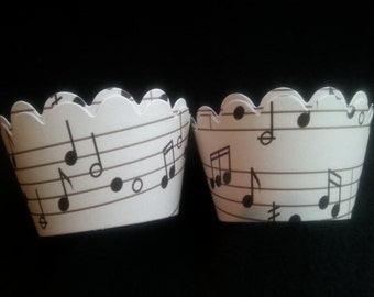 Custom Music Cupcake Wrappers (12)- Off White or White Background