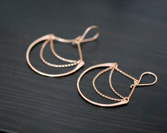 Chandelier Hoop Earrings , Gold Statement Hoops , Rose Gold , Sterling Silver , Geometric Dangle - Luna