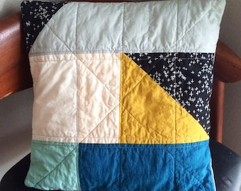 Modern Geometric Quilted Pillow Cover 16""