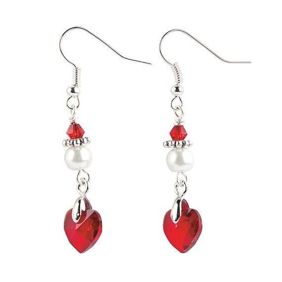 Crystal Heart Pendant Earrings