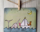Cute Narwhal Postcard, Little Boy and Fox in a Paper Boat Postcard or Mini Art Print