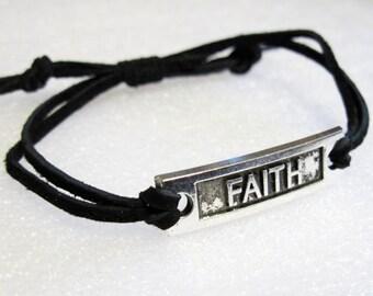 Show Your FAITH Bracelet Black Soft Suede adjustable sliding knot