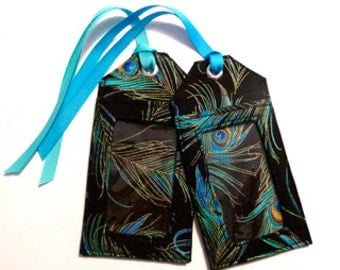 peacock feathers - fabric luggage tag - party favors - save the date - id holder - peacock - travel gifts - travel accessories