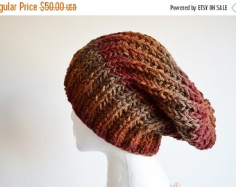 Prefall Sale Knit Hat, Hand Knit Hat, Handknit Slouchy Beanie in Russet, Rust, Oxblood Red. Chunky Handmade Knit Hat.