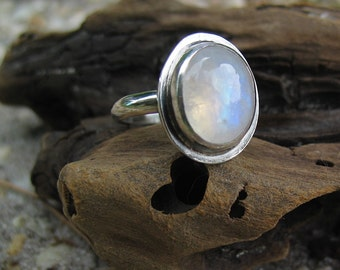 Rainbow Moonstone Ring, Moonstone Silver Ring, Boho Jewelry, Sterling Silver Ring, Custom Jewelry, Made to Order, Choose Your Size
