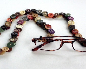Glasses Chain in Multi-Colored Vintage Buttons