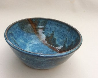 handmade blue serving bowl-ceramic fruit bowl-pottery- mixing bowl-everyday bowl- in stock-gift-  B36