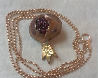 Distressed copper pomegranate necklace with rose gold-filled chain
