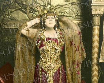 Exotic African Queen Belle Epoque Opera Star Fashion Glamour Lady Antique French Postcard Instant Download
