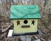 Birdhouse Primitive Yellow Green Rusty Stars