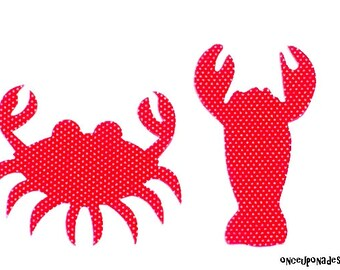 Lobster & Crab//Fabric Iron On Appliques