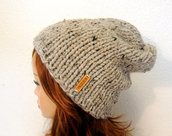 Slouchy Chunky Knit Hat / ASPEN / Grey Marble