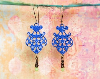 Cobalt blue earrings kidney earwires Bohemian jewelry
