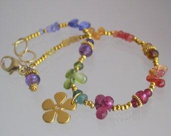 Rainbow Gemstone Bracelet, Vermeil Flower Charm, Pink Tourmaline, Layering Bracelet, Vesuvianite, Ruby, Sapphire, Original Design