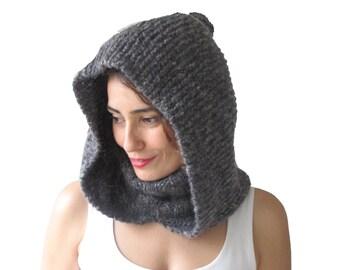 Turtleneck Dark Gray Hood Hat by Afra