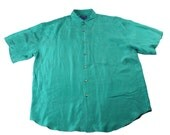 Vintage 1990s 90s Silk Button Up Shirt in Green Mens Retro Streetwear Size Large