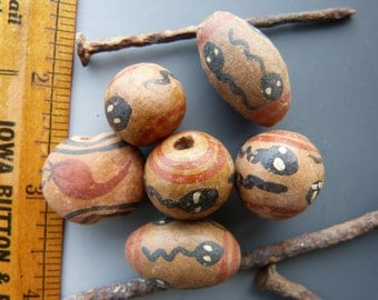 6 Vintage Peruvian Clay Beads with Snakes
