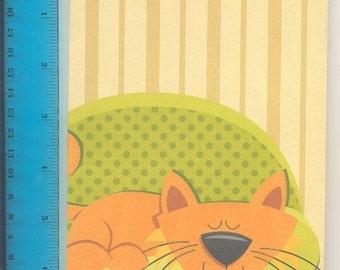 Sleepy Mama: Orange Cat Sleeps in a Green Chair