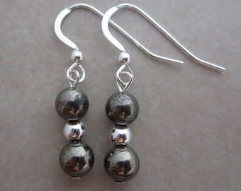 pyrite sterling silver earrings