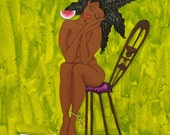Prints:5x7 TRANQUILITY Affirmation Natural Hair by karin turner KarinsArt  watermelon african american meditation JOY