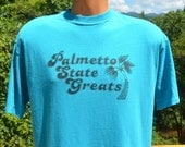 vintage t-shirt 90s PALMETTO state greats volleyball olympics south carolina tee Large XL teal