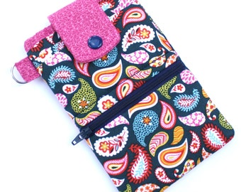 Wallet phone case, iphone 6 iphone 7 wallet case, fabric iphone pouch, Navy and rose Paisley fabric phone case