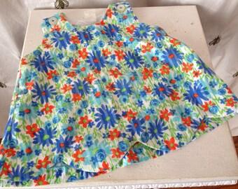 Vintage Baby Girl Toddler Girl Floral Jumper Dress, Blue Daisy, Orange, Green, Scalloped, 18 Months