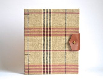 Plaid Hardcover Journal, Medium Handbound Journal with Reclaimed Leather Closure, Dapper Brown Plaid Hardcover Blank Book