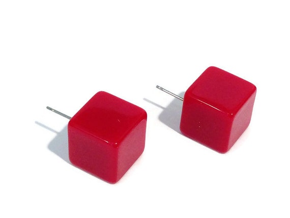 Red Square Earrings | Cherry Red Cube Studs | retro lucite square post earrings - #CP-1RD