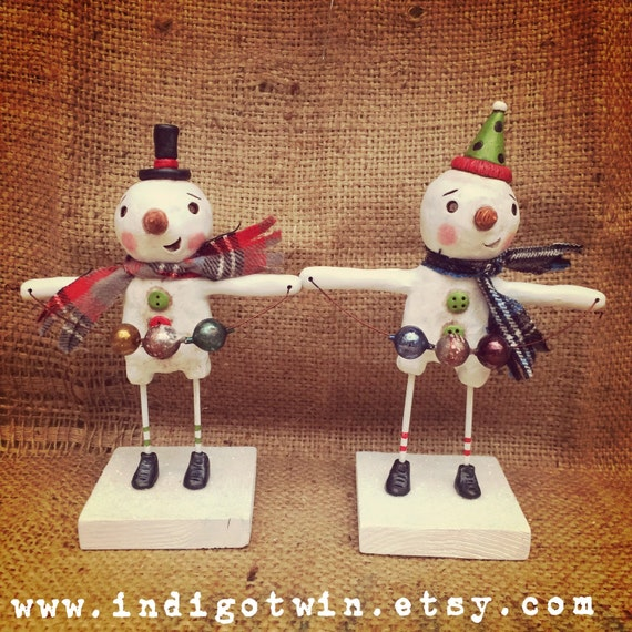 Snowman Christmas Decoration with red scarf and vintage german mercury glass folk art Sculpture Ready to Ship