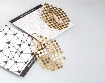 Gold Dangle Earrings, Gold Dots Earrings, Oval Earrings, Modern Architectural Jewelry
