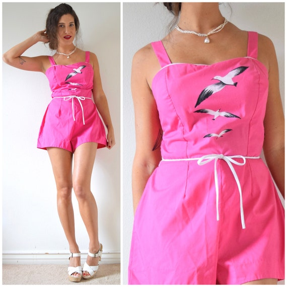 SUMMER SALE / 20% off Vintage 50s 60s Birds of a Feather Hot Pink Painted Seagulls Ruched Back Playsuit (size medium, large)