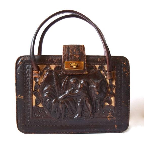 SPRING SALE/ 20% off Vintage 40s 50s Chocolate Brown Tooled Leather Handbag