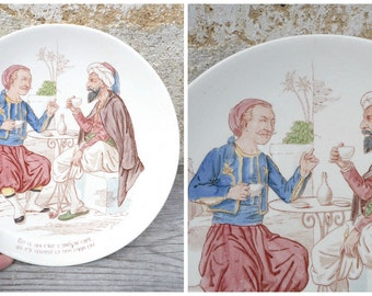 Vintage Antique 1890 French  sarreguemine story plate / Oriental /Coffee drinking